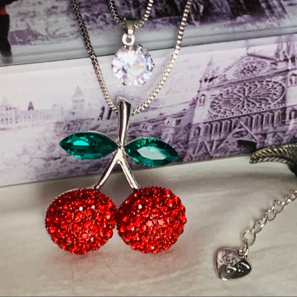 BETSEY JOHNSON Red Cherry & Charm Double Pendant